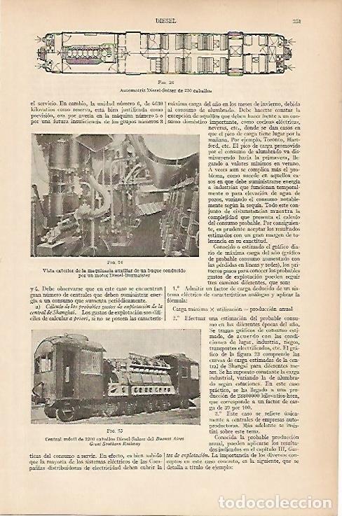 LAMINA ESPASA 5375: MOTOR DIESEL-SULZER (Coleccionismo - Laminas, Programas y Otros Documentos)