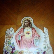 Coleccionismo: CARTÓN TROQUELADO Y GROFADO DEL SAGRADO CORAZÓN. RELIGION. SAN. SANTO. CARTEL. Lote 106630732