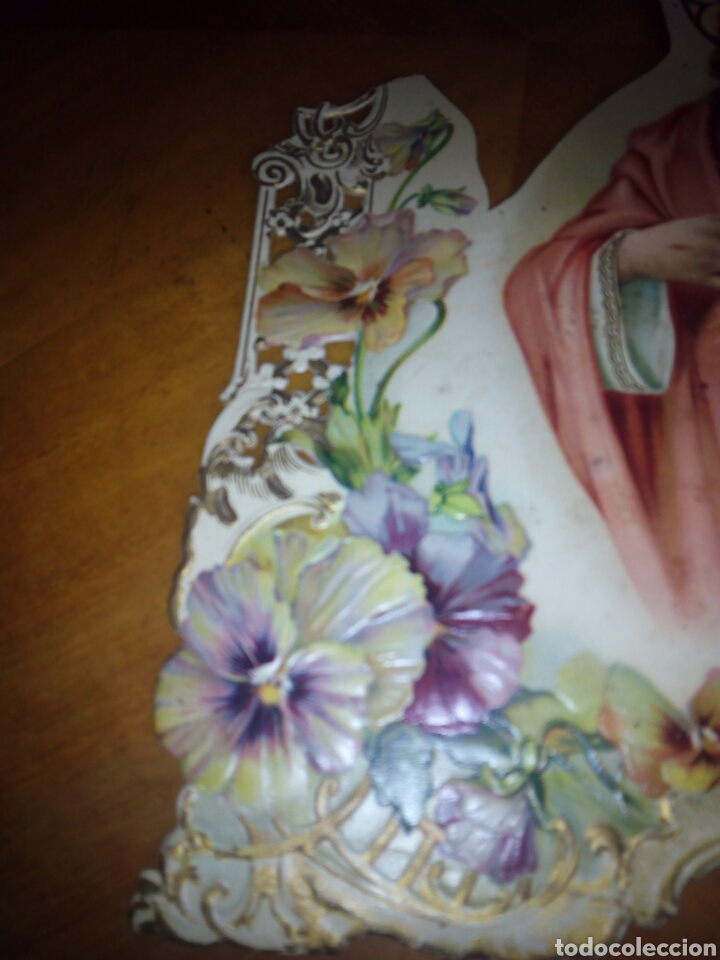 Coleccionismo: Cartón troquelado y grofado del Sagrado corazón. Religion. San. Santo. Cartel - Foto 3 - 106630732