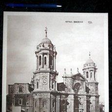Coleccionismo: FOTOGRAFIA - CADIZ - CATEDRAL - EXTERIOR - 35X27,5CM - CIRCA 1890 - GRAN FORMATO. Lote 107037327