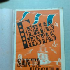 Coleccionismo: FERIAS Y FIESTAS VALLS SANTA URSULA PROGRAMA 1946. Lote 107826531