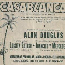 Coleccionismo: AÑO 1952 RECORTE PRENSA PUBLICIDAD EVAX SALA DE FIESTAS CASABLANCA SALON DE TE LUISITA ESTESO . Lote 108110427