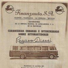 Coleccionismo: AÑO 1952 RECORTE PUBLICIDAD TRANSPORTE AUTOBUS AYUNTAMIENTO BURGOS FINANZAUTO PEGASO DIESEL. Lote 108298919