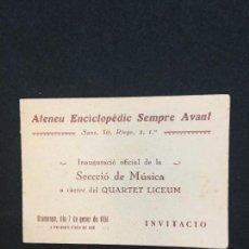Coleccionismo: SANS (BARCELONA). ATENEU ENCICLOPÈDIC SEMPRE AVANT. INAUGURACIÓ OFICIAL SECCIÓ DE MÚSICA. GENER,1934. Lote 108505875
