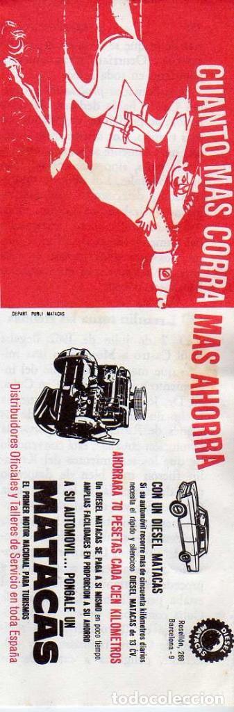 ANUNCIO PUBLICIDAD MOTOR MATACAS (Coleccionismo - Laminas, Programas y Otros Documentos)