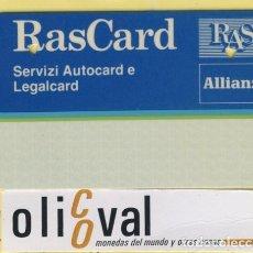 Coleccionismo: TARJETAS IDENTIFICACION ,CONTROL -FABRICANTE ITALIA ALLIANZ RAS CARD 027. Lote 109299471