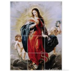 Coleccionismo: RETABLO DE 12 AZULEJOS 15X15 CON LA VIRGEN MARIA Y ÁNGELES. Lote 110561199