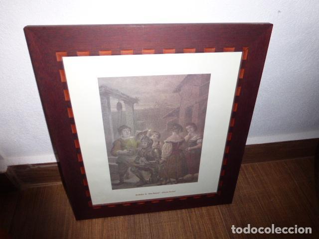 cuadro con marco de madera y lamina con grabado - Comprar en ...