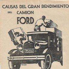Coleccionismo: AÑO 1930 RECORTE PRENSA PUBLICIDAD CAMION FORD GRAN RENDIMENTO COCHES TRANSPORTE. Lote 111061775