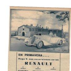 Coleccionismo: AÑO 1934 RECORTE PRENSA PUBLICIDAD RENAULT AUTOMOVIL COCHE. Lote 111670287