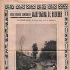 Coleccionismo: AÑO 1910 PUBLICIDAD MODERNISMO BALNEARIO VALLFOGONA DE RIUCORB TARRAGONA AGUAS MINERALES. Lote 112074639