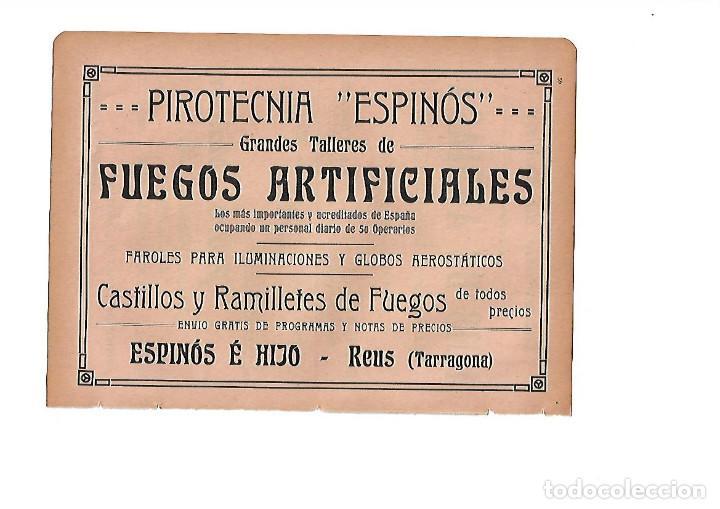 AÑO 1910 HOJA PUBLICIDAD PIROTECNIA ESPINOS REUS FUEGOS ARTIFICIALES FAROLES GLOBOS (Coleccionismo - Laminas, Programas y Otros Documentos)