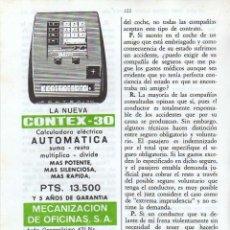 Coleccionismo: ANUNCIO PUBLICIDAD CALCULADORA CONTEX. Lote 112126351