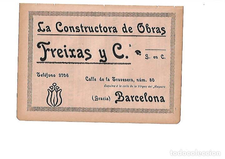 AÑO 1910 HOJA PUBLICIDAD MODERNISTA CONSTRUCTORA OBRAS FREIXAS Y COMPAÑIA BARCELONA (Coleccionismo - Laminas, Programas y Otros Documentos)