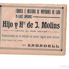 AÑO 1910 HOJA PUBLICIDAD VIVO TORRAS TALLER ELECTRICIDAD ASCENSOR MOLINS SABADELL FABRICA LANA PUNTO