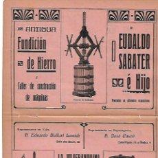 Coleccionismo: AÑO 1910 PUBLICIDAD LA VILAFRANQUINA VILAFRANCA PENEDES EUDALDO SABATER FUNDICION HIERRO PRENSA. Lote 112760467