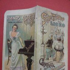Coleccionismo: GRAN TEATRO DEL LICEO. BARCELONA. TEMPORADA 1900-1901. PROGRAMA OFICIAL. INTERESANTE PUBLICIDAD. Lote 113276955
