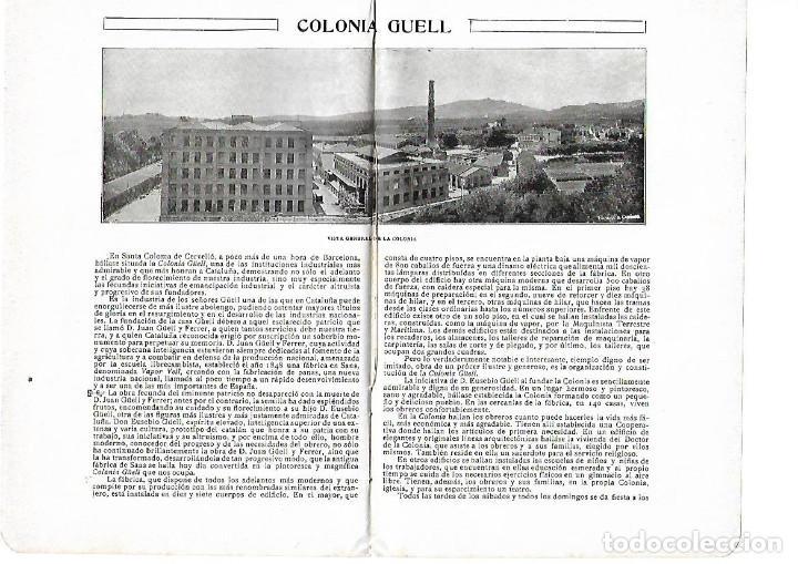 AÑO 1915 HOJAS REPORTAJE COLONIA GUELL INDUSTRIA FABRICA TEXTIL EUSEBIO JUAN GUELL (Coleccionismo - Laminas, Programas y Otros Documentos)