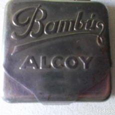 Coleccionismo: ANTIGUA CAJA METALICA TROQUELADA BAMBU ALCOY PARA GUARDAR PAPEL DE FUMAR. Lote 113420615