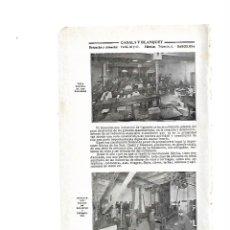 Coleccionismo: AÑO 1915 HOJAS REPORTAJE CASALS Y BLANQUET FABRICA METAL HEVILLAS CINTURON ESTAMPACION HOJA DE LATA . Lote 113434519