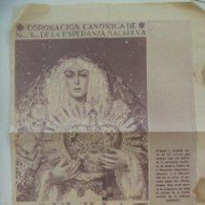 Coleccionismo: HOJA DE PERIODICO CON CARTEL DE LA CORONACION CANONICA DE LA MACARENA. SEVILLA , MAYO 1964.. Lote 113531843
