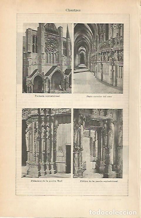 LAMINA ESPASA 1905: CATEDRAL DE CHARTRES FRANCIA (Coleccionismo - Laminas, Programas y Otros Documentos)