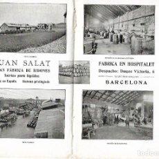 Coleccionismo: AÑO 1915 PUBLICIDAD JUAN SALAT FABRICA BIDONES PARA LIQUIDOS HOSPITALET DOMINGO ORISTRELL MERCERIA . Lote 114113439