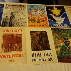 Coleccionismo: 10 LAMINAS CARTELES ORIGINALES DE PONTEVEDRA AÑOS 50,70,90. Lote 114744816
