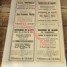 Coleccionismo: 1924, HOJA DE REVISTA, PUBLICIDAD ACEITE PUEBLOS DE CORDOBA Y JAEN,,195X270MM. Lote 115126363