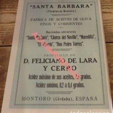 Coleccionismo: MONTORO, CORDOBA,1924, HOJA DE REVISTA, PUBLICIDAD FABRICA ACEITE DE OLIVA,195X270MM. Lote 115126671