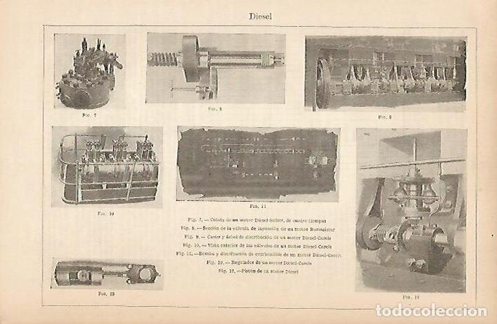 LAMINA ESPASA 5374: MOTOR DIESEL (Coleccionismo - Laminas, Programas y Otros Documentos)