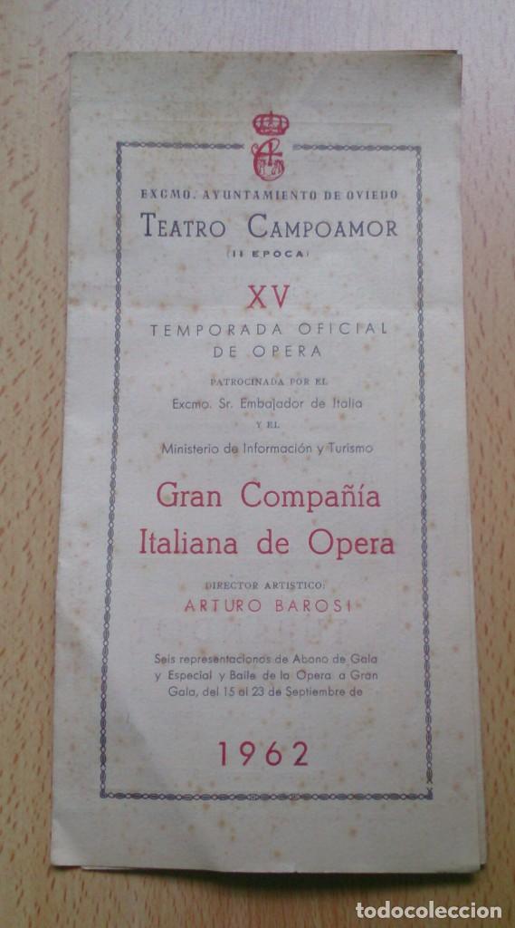 PROGRAMA DE MANO OPERA TEATRO CAMPOAMOR OVIEDO 1962 (Coleccionismo - Laminas, Programas y Otros Documentos)