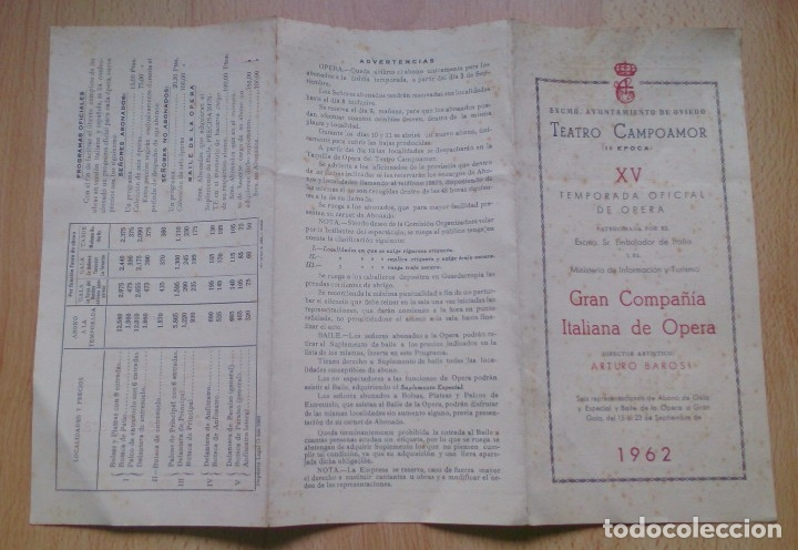 Coleccionismo: Programa de mano Opera Teatro Campoamor Oviedo 1962 - Foto 2 - 115481779