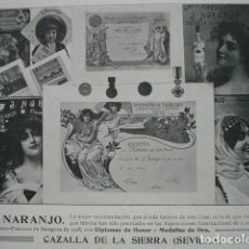 Coleccionismo: ANISES J NARANJO CAZALLA SEVILLA .AÑO 1910.17X12. Lote 115769975