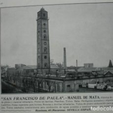 Coleccionismo: FABRICA DE PLOMO SAN FRANCISCO DE PAULA MANUEL DE MATA RESOLANA SEVILLA .AÑO 1910.17X12. Lote 115772599