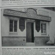 Coleccionismo: BANCO HIPOTECARIO DE ESPAÑA ANTONIO SALVATIERRA UNION 1. SEVILLA AÑO 1910. 12X8.5. Lote 115775847