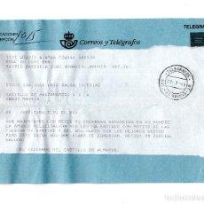 Coleccionismo: TELEGRAMA ENVIADO POR EL JEFE DE LA CASA DE SU MAJESTAD FIRMADO POR EL VIZCONDE CASTILLO DE ALMANSA.. Lote 116136723