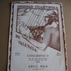 Coleccionismo: PROGRAMA, SOCIEDAD FILARMONICA DE VALENCIA, TEATRO PRINCIPAL, 1939, GUERRA CIVIL. Lote 116199607