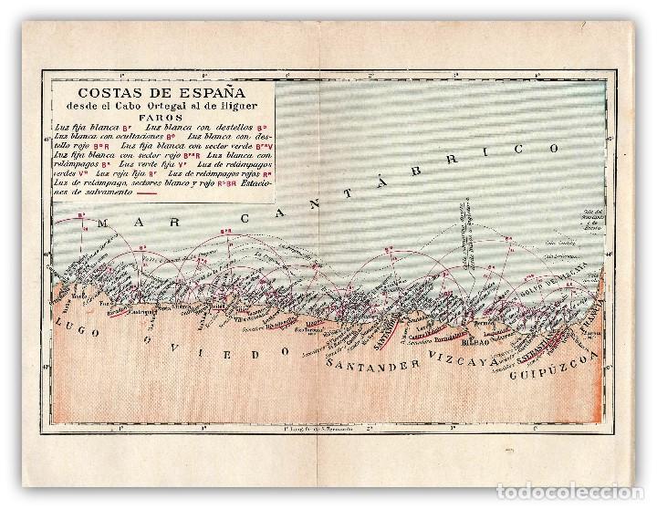 Mapa Costa Norte España.Mapa Costas Norte Espana Geografia Peninsular C Vendu Aux