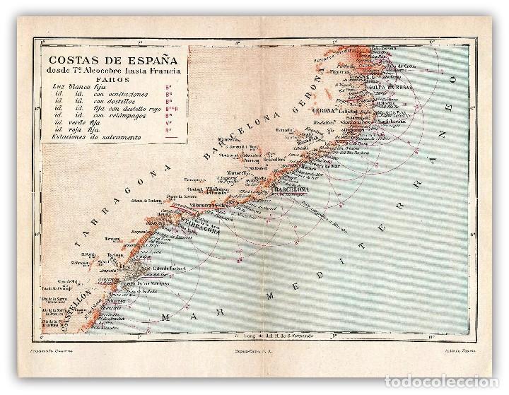 Costas De España Mapa.Mapa Costas Espana Cataluna Mediterraneo Faros Sold At
