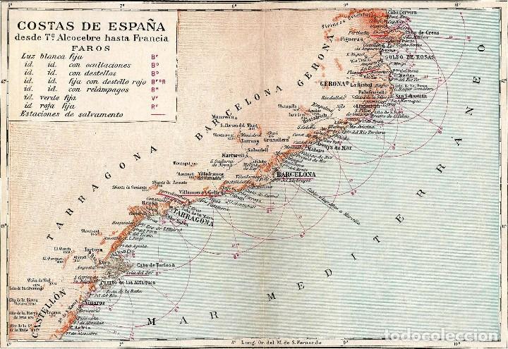 Mapa De España Costas.Mapa Costas Espana Cataluna Mediterraneo Faros Sold At