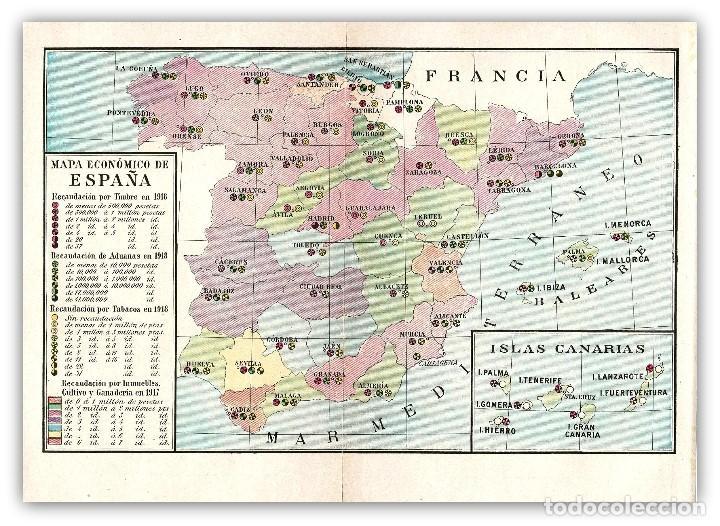 Mapa Economico De España.Mapa Economico Recaudatorio 1918 Impuestos Espana Estadistica Mapa Litografico