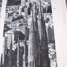 Coleccionismo - BARCELONA SAGRADA FAMILIA VISTA AEREA ANTIGUA LAMINA HUECOGRABADO - 116772883