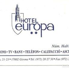 Coleccionismo: TARJETA COMERCIAL HOSTAL EUROPA GIRONA. Lote 116865675