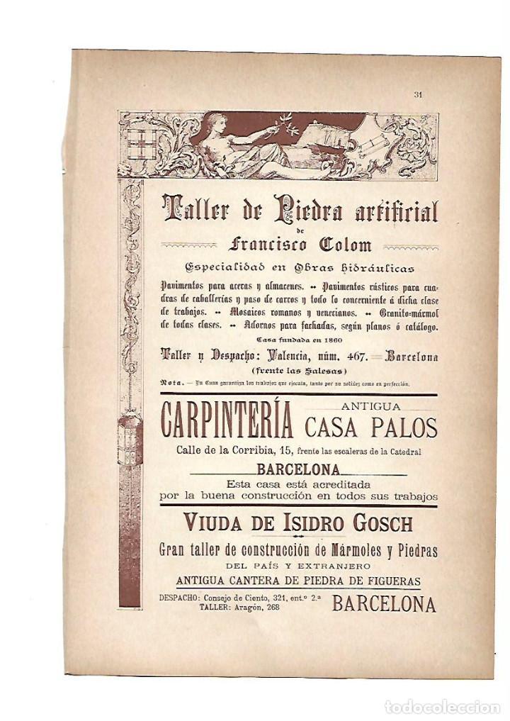 AÑO 1903 PUBLICIDAD ANUNCIO MODERNISTA FRANCISCO COLOM CASA PALOS CARPINTERIA ISIDRO GOSCH (Coleccionismo - Laminas, Programas y Otros Documentos)