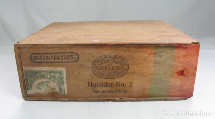 ANTIGUA CAJA PUROS LA ESCEPCIÓN DE JOSE GENER. HUMIDOR Nº 2. CUBA HABANA. PATENTE Nº 13555. RARA (Coleccionismo - Objetos para Fumar - Otros)