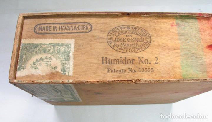 Coleccionismo: ANTIGUA CAJA PUROS LA ESCEPCIÓN DE JOSE GENER. HUMIDOR Nº 2. CUBA HABANA. PATENTE Nº 13555. RARA - Foto 2 - 124703586