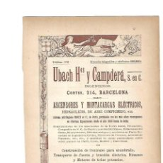Coleccionismo: AÑO 1903 PUBLICIDAD ANUNCIO MODERNISTA UBACH HERMANOS CAMPDERA ASCENSORES MONTACARGAS ELECTRICOS. Lote 117702279