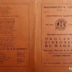 Coleccionismo: MONUMENTAL CINEMA, PROGRAMA CONCIERTOS MATINALES, ORQUESTA SINFONICA DE MADRID, NOVIEMBRE 1931. Lote 117733199