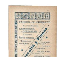 Coleccionismo: AÑO 1903 PUBLICIDAD ANUNCIO MODERNISTA QUERALTO Y PLANAS FABRICA DE PARQUETS CARPINTERIA CERRAJERIA . Lote 118294639